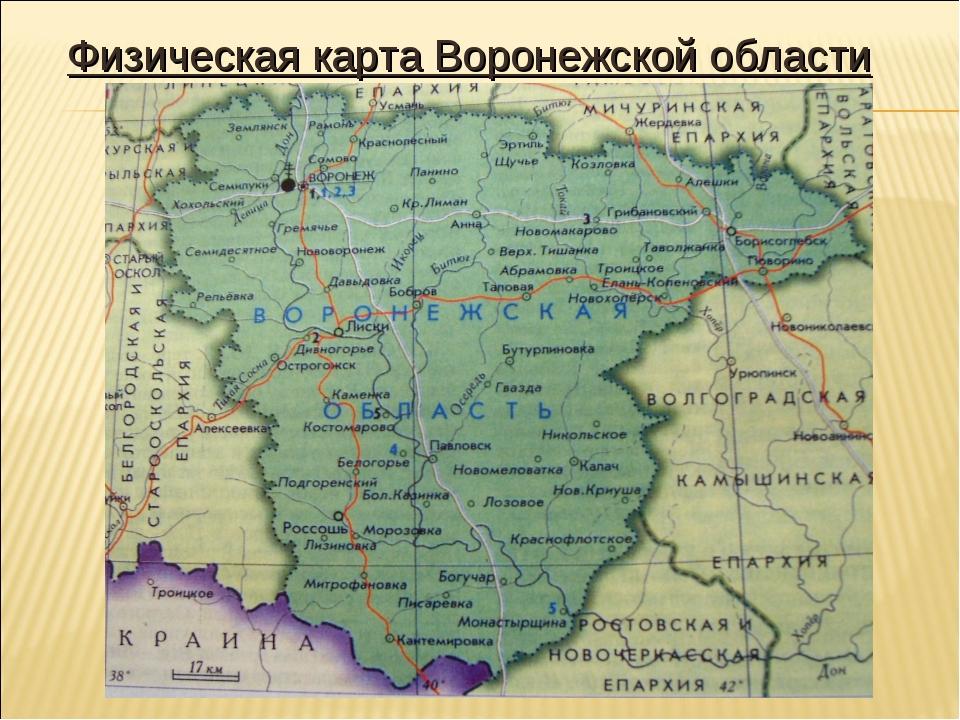 Физическая карта Воронежской области