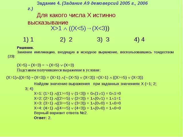 Задание 4. (Задание А9 демоверсий 2005 г., 2006 г.) Для какого числа X истинн...