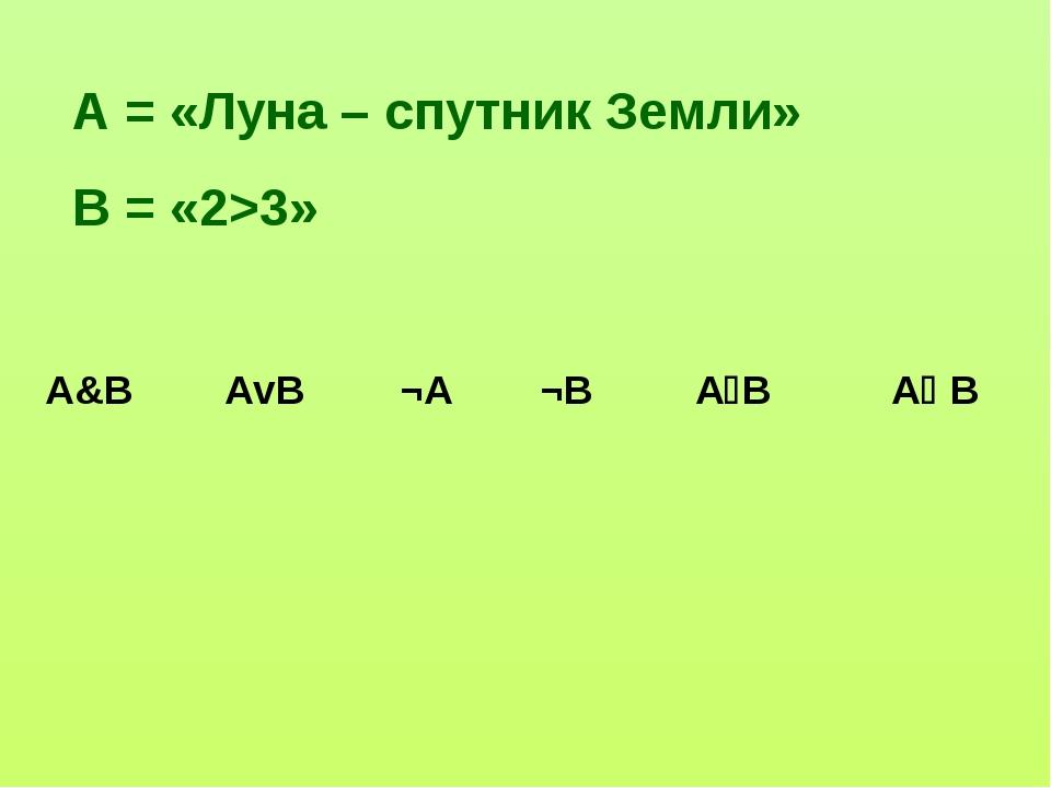 А = «Луна – спутник Земли» В = «2>3» А&BАvB¬A¬BАВА В