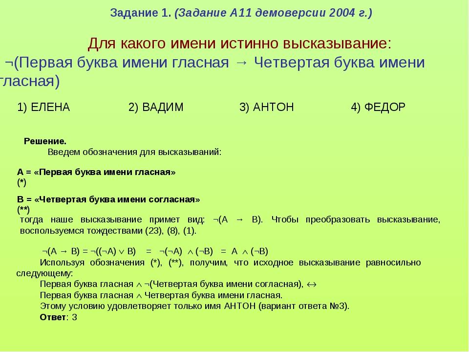 Задание 1. (Задание А11 демоверсии 2004 г.) Для какого имени истинно высказы...