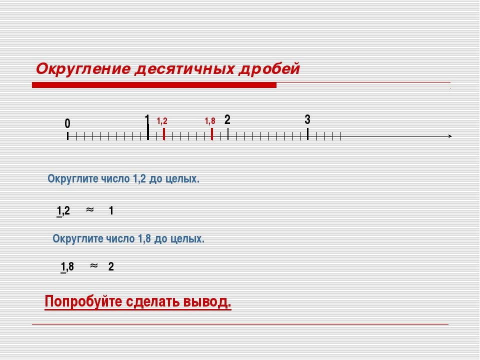 Округление десятичных дробей 0 1 2 3 Округлите число 1,2 до целых. 1,2 1,2 1...