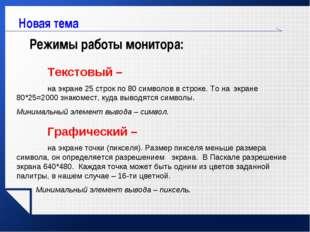 www.themegallery.com Новая тема Режимы работы монитора: Текстовый – на экра