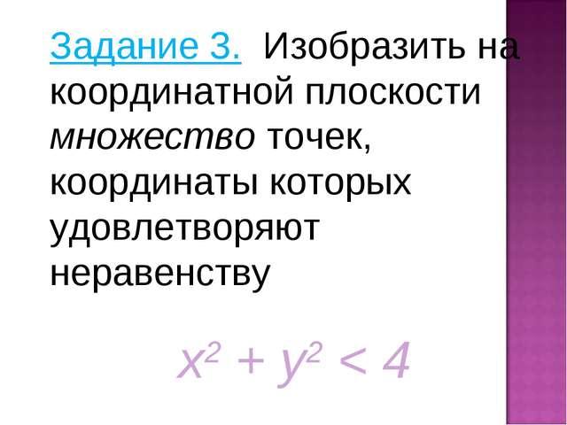 Задание 3. Изобразить на координатной плоскости множество точек, координаты к...
