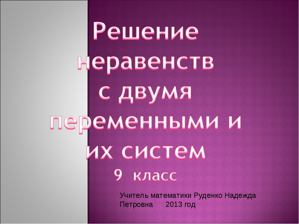 Учитель математики Руденко Надежда Петровна 2013 год