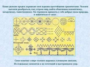 Наши далекие предки украшали свои изделия простейшими орнаментами. Человек п
