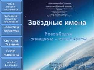 Воспитатель Гундарева О. Н. Число женщин - космонавтов Требования к женщинам