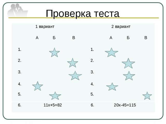 Проверка теста 1 вариант 2 вариант А Б В А Б В 1. 1. 2. 2. 3. 3. 4. 4. 5. 5....
