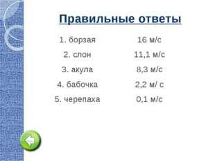 Правильные ответы 1. борзая16 м/с 2. слон11,1 м/с 3. акула8,3 м/с 4. бабоч