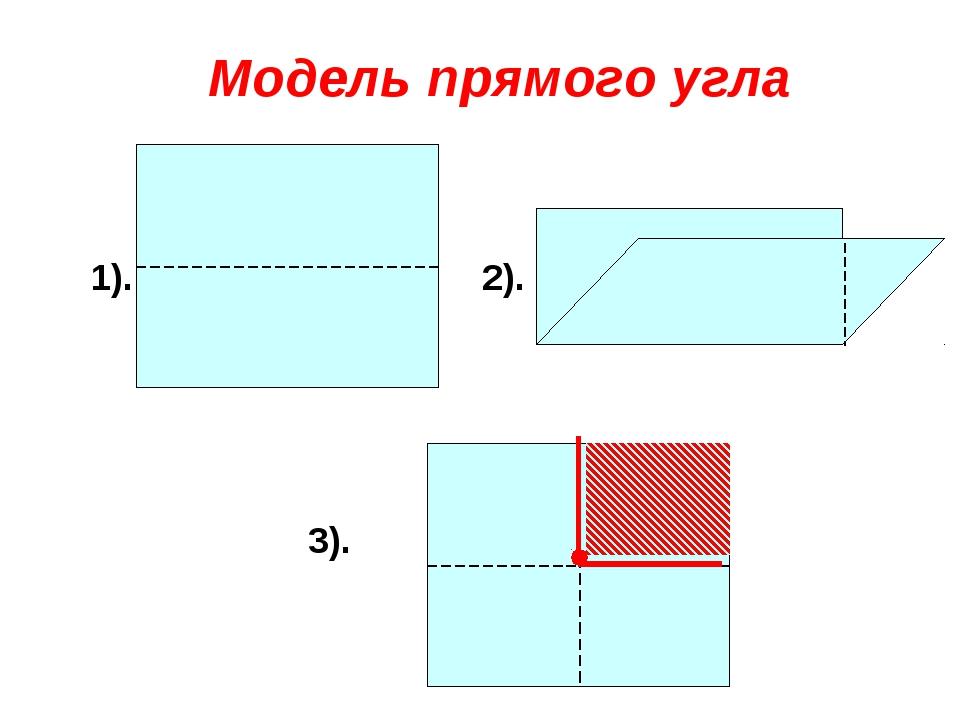 2). 1). 3). Модель прямого угла