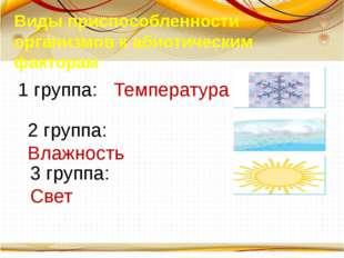 Виды приспособленности организмов к абиотическим факторам 1 группа: Температу