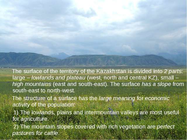 The surface of the territory of the Kazakhstan is divided into 2 parts: larg...