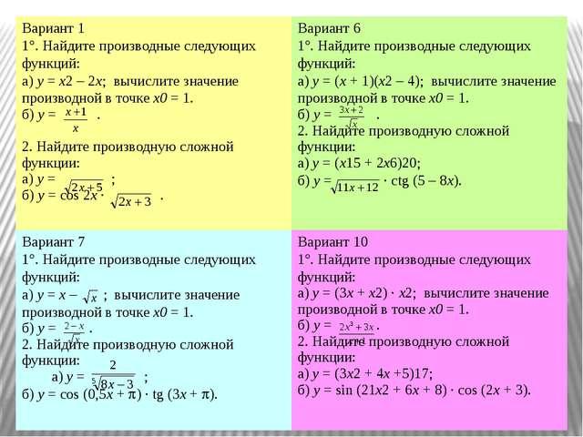 Вариант 1 1. Найдите производные следующих функций: а)y=x22x; вычислите зн...