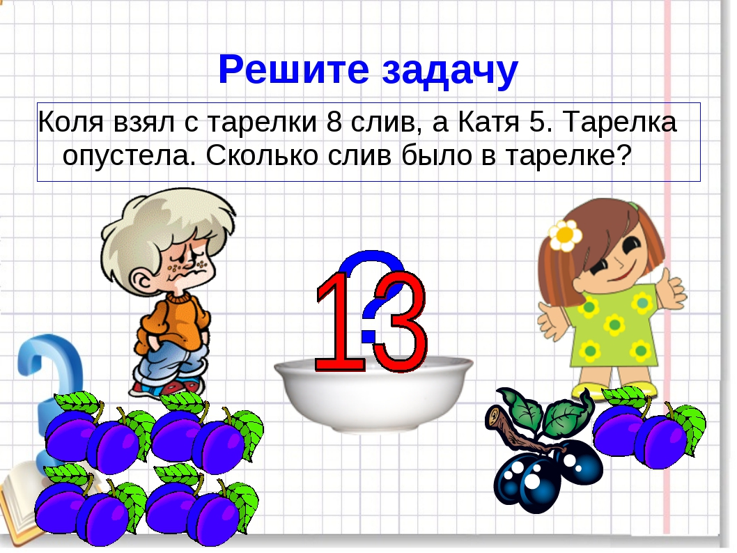 Решите задачу Коля взял с тарелки 8 слив, а Катя 5. Тарелка опустела. Сколько...