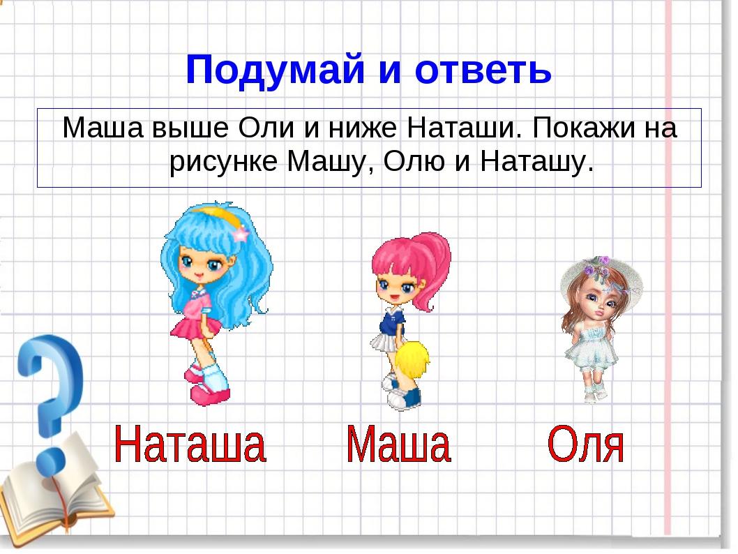 Подумай и ответь Маша выше Оли и ниже Наташи. Покажи на рисунке Машу, Олю и Н...