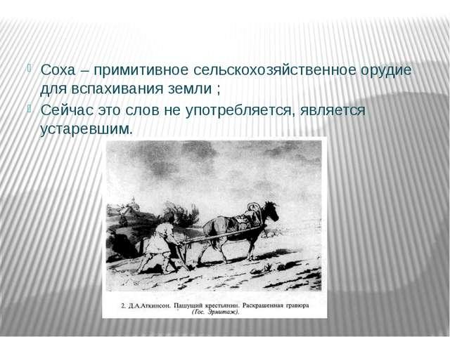 Соха – примитивное сельскохозяйственное орудие для вспахивания земли ; Сейча...