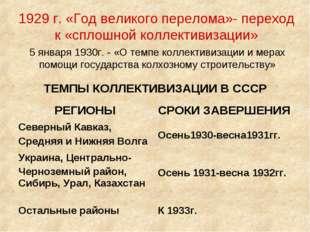 1929 г. «Год великого перелома»- переход к «сплошной коллективизации» 5 январ