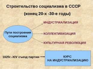 Строительство социализма в СССР (конец 20-х -30-е годы) Пути построения социа