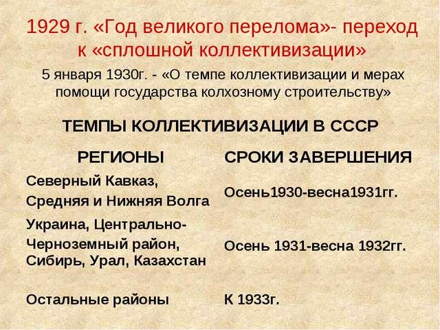1929 г. «Год великого перелома»- переход к «сплошной коллективизации» 5 январ...