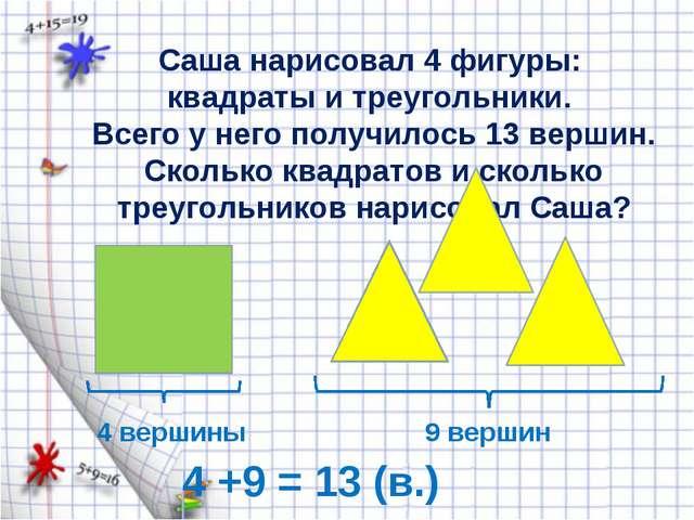 Саша нарисовал 4 фигуры: квадраты и треугольники. Всего у него получилось 13...