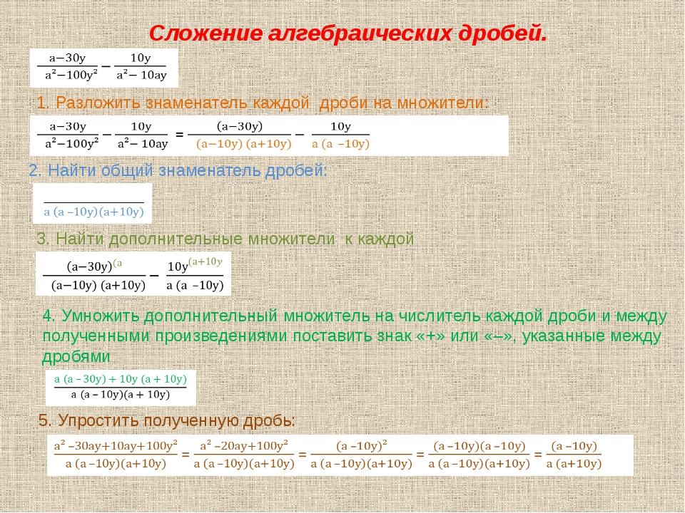 Сложение алгебраических дробей. 1. Разложить знаменатель каждой дроби на множ...