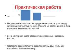 Практическая работа 1. На диаграмме показано распределение запасов угля между