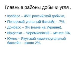 Главные районы добычи угля . Кузбасс – 45% российской добычи, Печорский уголь