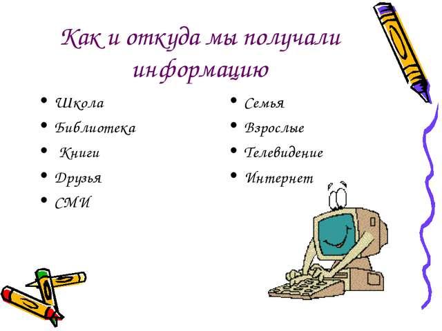 Как и откуда мы получали информацию Школа Библиотека Книги Друзья СМИ Семья В...