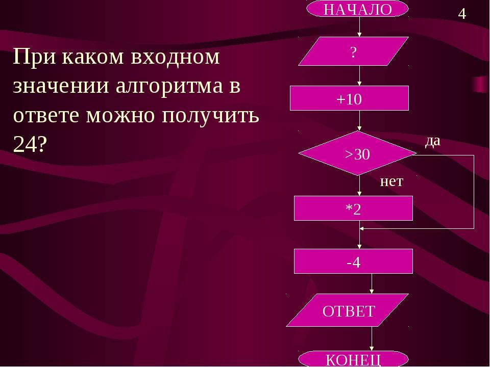 НАЧАЛО +10 -4 *2 ОТВЕТ КОНЕЦ При каком входном значении алгоритма в ответе мо...