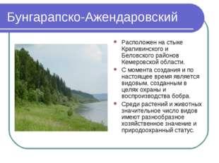 Бунгарапско-Ажендаровский Расположен на стыке Крапивинского и Беловского райо