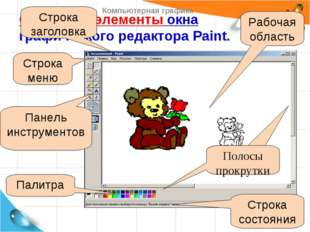 Основные элементы окна графического редактора Paint. Рабочая область Строка с