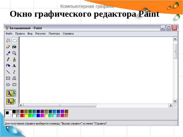 Окно графического редактора Paint Компьютерная графика   Компьютерная графи...