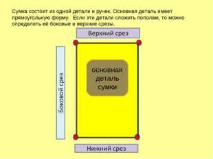 Сумка состоит из одной детали и ручек. Основная деталь имеет прямоугольную фо