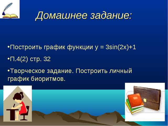 Домашнее задание: Построить график функции у = 3sin(2x)+1 П.4(2) стр. 32 Тво...