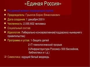 «Единая Россия» На данный момент лидирующая партия. Председатель: Грызлов Бор