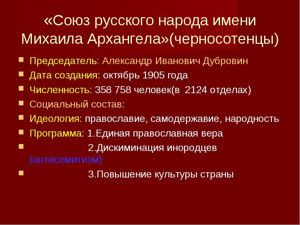 «Союз русского народа имени Михаила Архангела»(черносотенцы) Председатель: Ал...