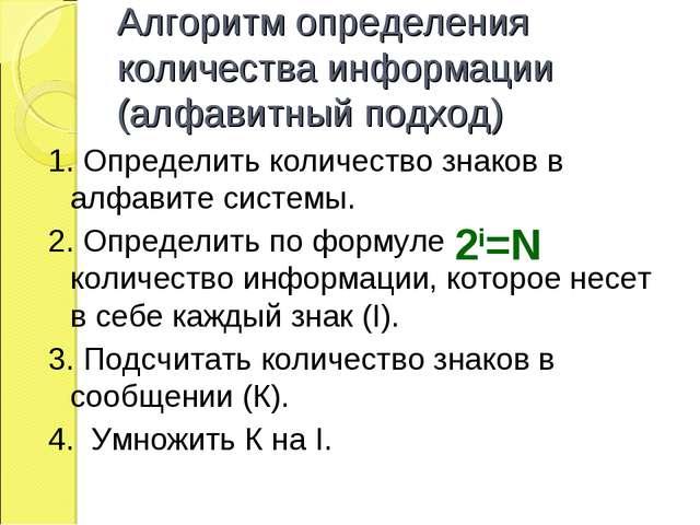 Алгоритм определения количества информации (алфавитный подход) 1. Определить...