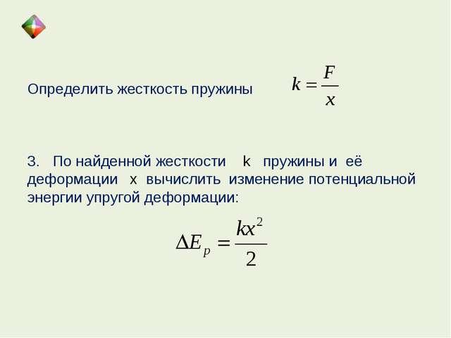 Определить жесткость пружины 3. По найденной жесткости k пружины и её деформа...
