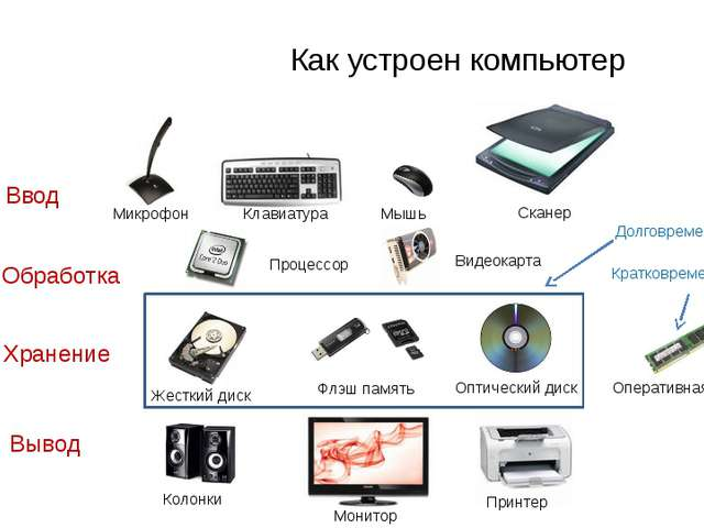 Ввод Хранение Вывод Обработка Как устроен компьютер Процессор Микрофон Клави...
