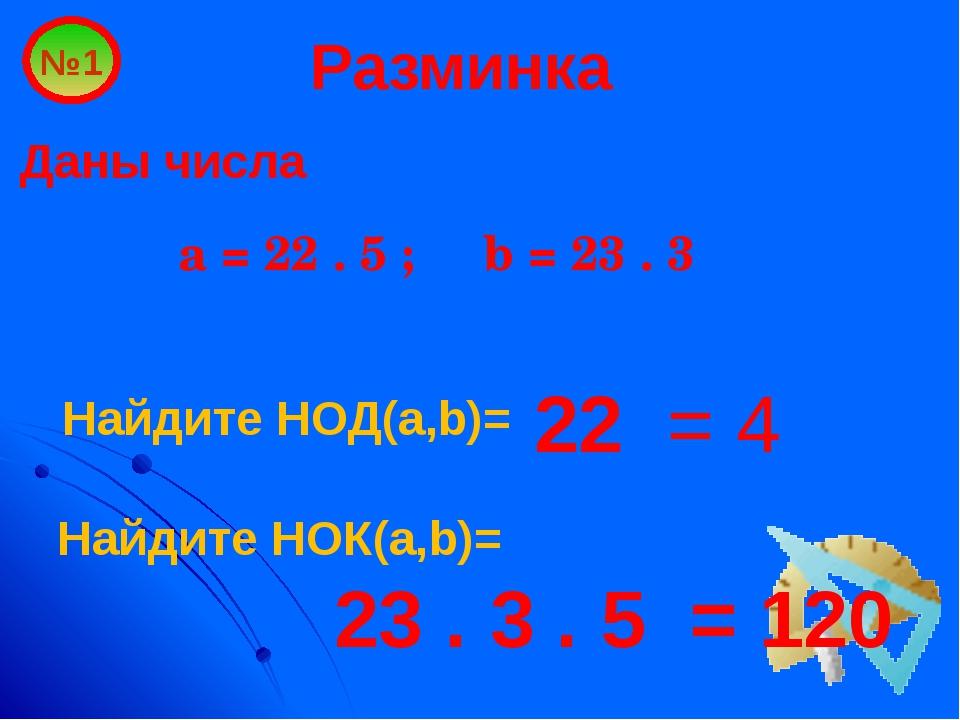 Разминка Даны числа a = 22 . 5 ; b = 23 . 3 №1 22 = 4 Найдите НОД(a,b)= Найди...