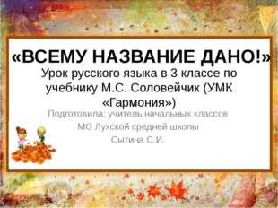 Урок русского языка в 3 классе по учебнику М.С. Соловейчик (УМК «Гармония») П