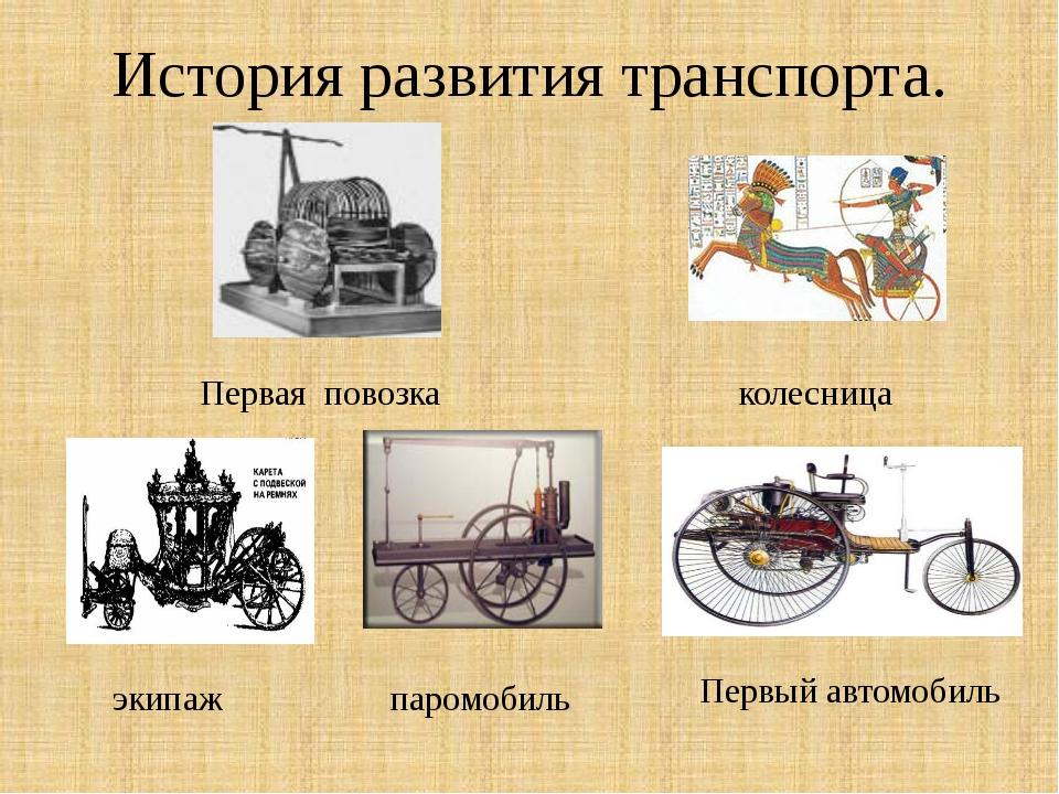 История развития транспорта. Первая повозка колесница паромобиль экипаж Первы...