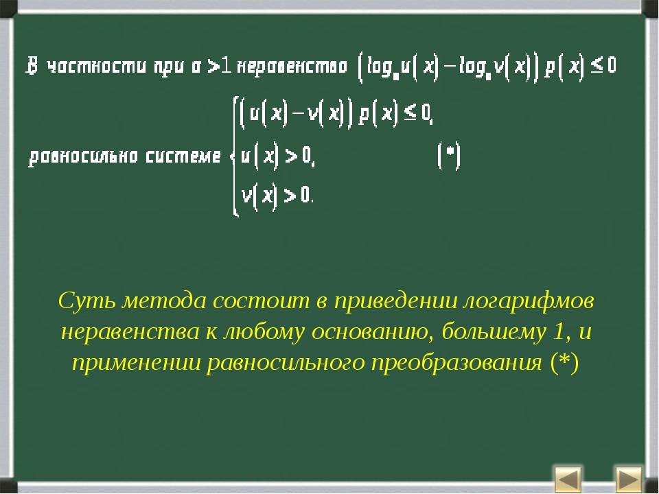 Суть метода состоит в приведении логарифмов неравенства к любому основанию, б...