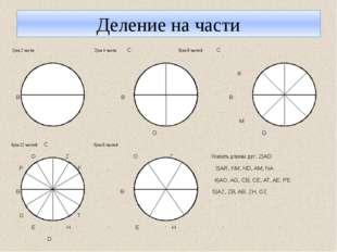 Деление на части 1)на 2 части 2)на 4 части С 3)на 8 частей С R K В А В А В A