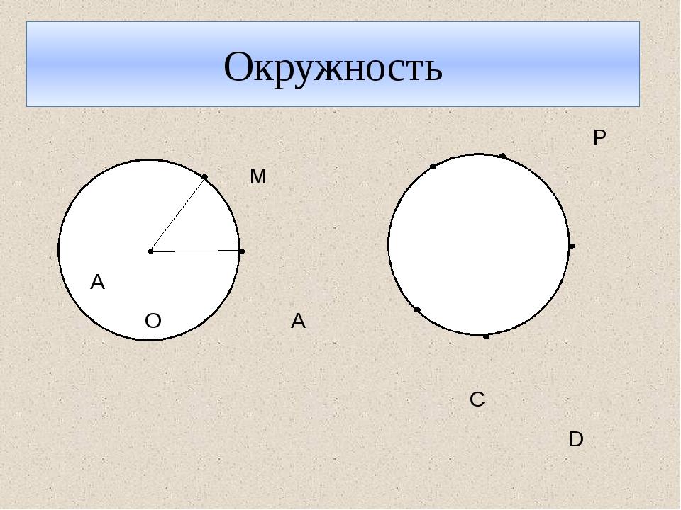 Окружность P М N A О А C D