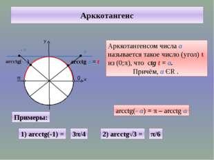 Арккотангенс у х 0 π arcctg а = t Арккотангенсом числа а называется такое чис