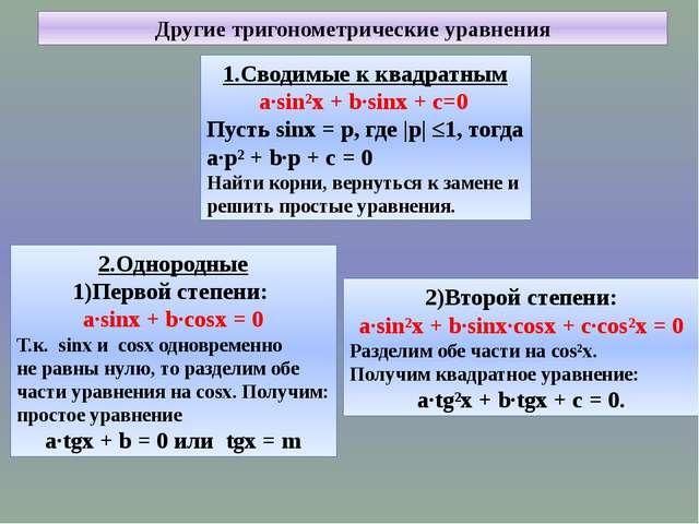 Другие тригонометрические уравнения 1.Сводимые к квадратным a∙sin²x + b∙sinx...