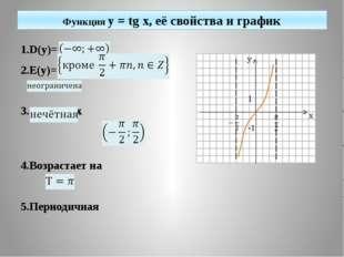 Функция y = tg x, её свойства и график 1.D(y)= 2.E(y)= 3.tg(-x)=-tgx 4.Возра