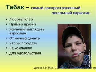 Табак – самый распространенный легальный наркотик Любопытство Пример друзей Ж
