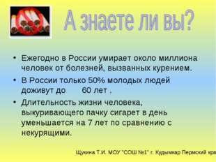 Ежегодно в России умирает около миллиона человек от болезней, вызванных куре