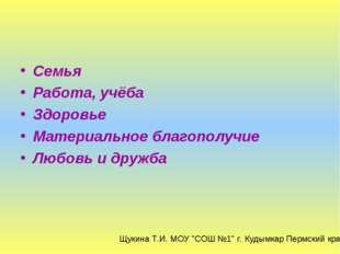 Семья Работа, учёба Здоровье Материальное благополучие Любовь и дружба Щукина